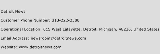 Detroit News Phone Number Customer Service