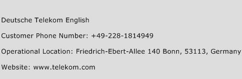 Deutsche Telekom English Phone Number Customer Service