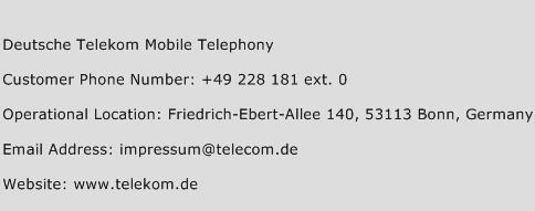 Deutsche Telekom Mobile Telephony Phone Number Customer Service