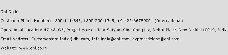 Dhl Delhi Phone Number Customer Service