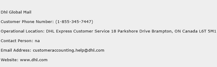 Dhl Global Mail Phone Number Customer Service