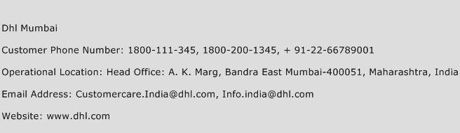 Dhl Mumbai Phone Number Customer Service