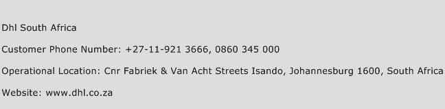 Dhl South Africa Phone Number Customer Service