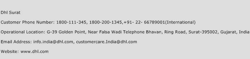 Dhl Surat Phone Number Customer Service
