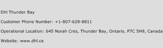 Dhl Thunder Bay Phone Number Customer Service