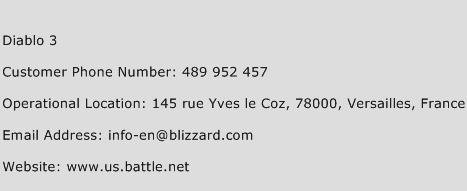 Diablo 3 Phone Number Customer Service