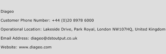 Diageo Phone Number Customer Service