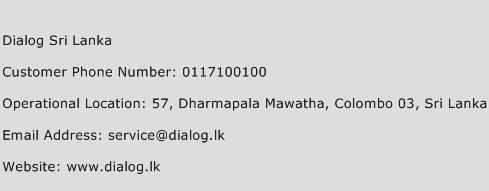 Dialog Sri Lanka Phone Number Customer Service