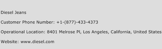 Diesel Jeans Phone Number Customer Service