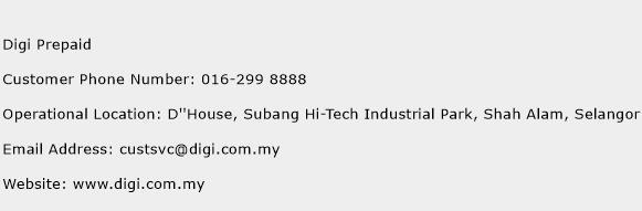 Digi Prepaid Phone Number Customer Service