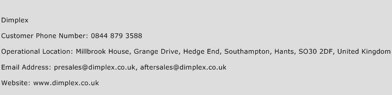 Dimplex Phone Number Customer Service