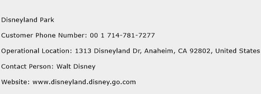 Disneyland Park Phone Number Customer Service