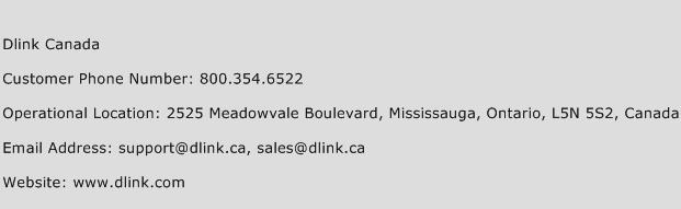 Dlink Canada Phone Number Customer Service