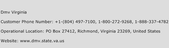 Dmv Virginia Phone Number Customer Service