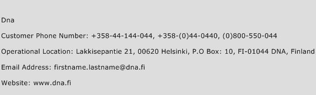 Dna Phone Number Customer Service