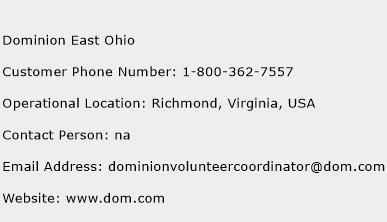 Dominion East Ohio Phone Number Customer Service