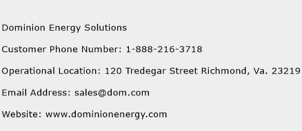 Dominion Energy Solutions Phone Number Customer Service