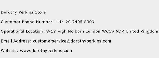 Dorothy Perkins Store Phone Number Customer Service