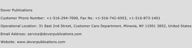 Dover Publications Phone Number Customer Service