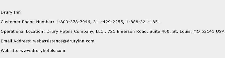 Drury Inn Phone Number Customer Service