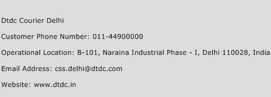 Dtdc Courier Delhi Phone Number Customer Service