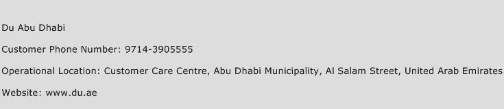 Du Abu Dhabi Phone Number Customer Service