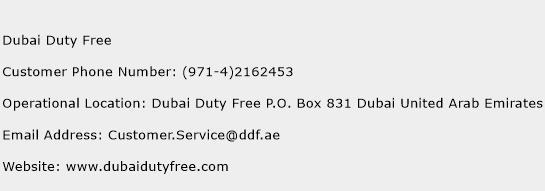 Dubai Duty Free Phone Number Customer Service