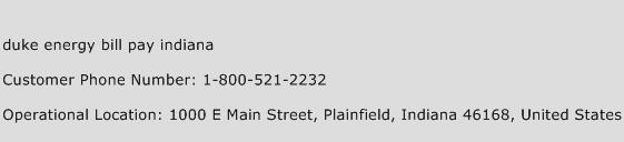 Duke Energy Bill Pay Indiana Phone Number Customer Service
