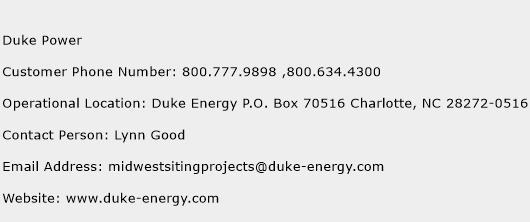 Duke Power Phone Number Customer Service