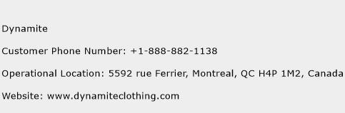 Dynamite Phone Number Customer Service
