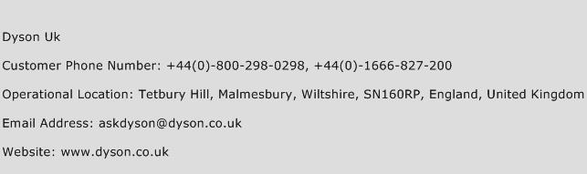 Dyson Uk Phone Number Customer Service