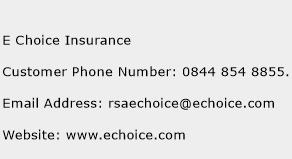 E Choice Insurance Phone Number Customer Service