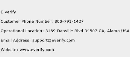 E Verify Phone Number Customer Service