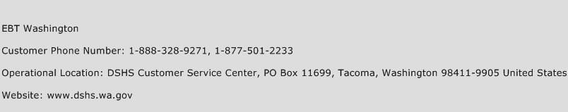 EBT Washington Phone Number Customer Service