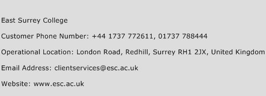 East Surrey College Phone Number Customer Service