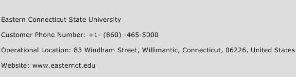 Eastern Connecticut State University Phone Number Customer Service