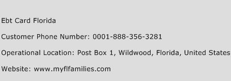Ebt Card Florida Phone Number Customer Service