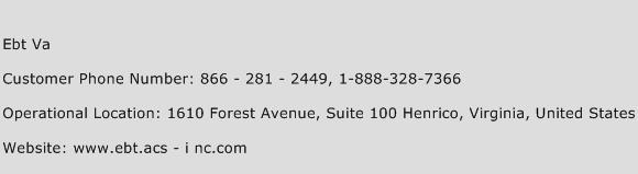 Ebt Va Phone Number Customer Service