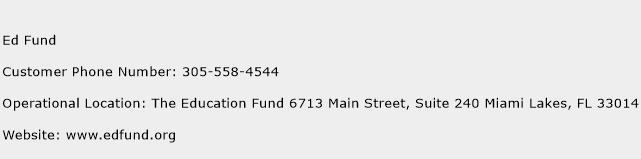 Ed Fund Phone Number Customer Service
