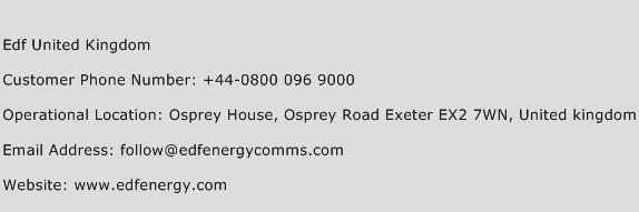 Edf United Kingdom Phone Number Customer Service