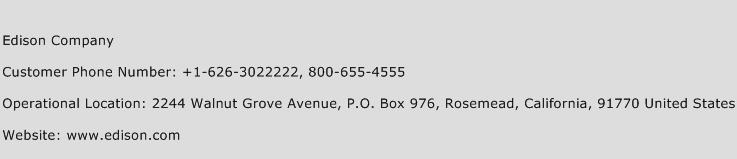 Edison Company Phone Number Customer Service