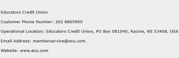 Educators Credit Union Phone Number Customer Service