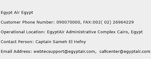 Egypt Air Egypt Phone Number Customer Service