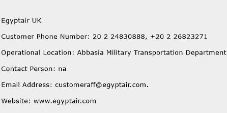 Egyptair UK Phone Number Customer Service