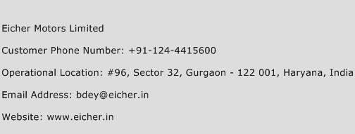 Eicher Motors Limited Phone Number Customer Service