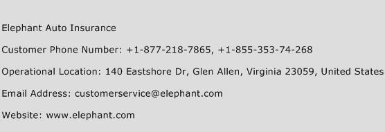 Elephant Auto Insurance Customer Service Number 10886