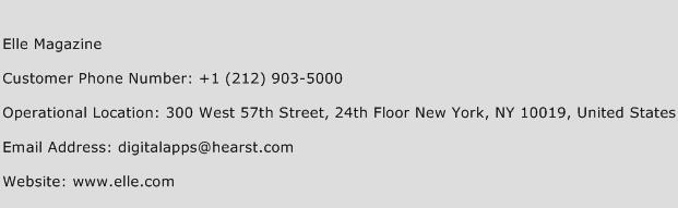 Elle Magazine Phone Number Customer Service