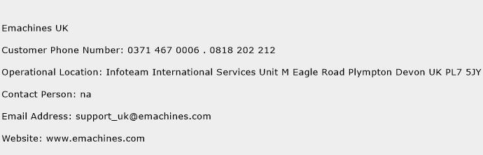 Emachines UK Phone Number Customer Service