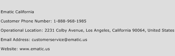 Ematic California Phone Number Customer Service