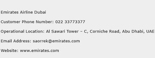 Emirates Airline Dubai Phone Number Customer Service